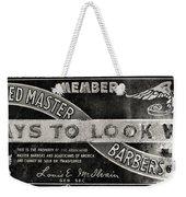 Vintage Associated Master Barber Sign Black And White Weekender Tote Bag