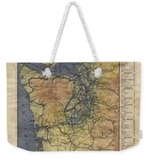 Vintage Auto Map Western Washington Olympic Peninsula Hand Painted Weekender Tote Bag