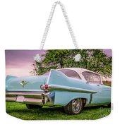 Vintage Blue Caddy American Vintage Car Weekender Tote Bag