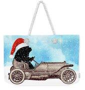Vintage Santa Newf Holiday Card Weekender Tote Bag
