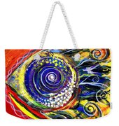 Violet Fish On Red And Yellow Weekender Tote Bag