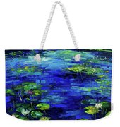 Water Lilies Story Impressionistic Impasto Palette Knife Oil Painting Mona Edulesco Weekender Tote Bag
