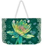 Water Lily And Lace Weekender Tote Bag