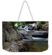 Water Stream On The River With Small Waterfalls Weekender Tote Bag