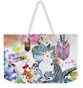 Watercolor - Kitten On My Painting Table Weekender Tote Bag