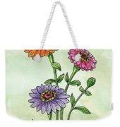 Watercolor Orange Pink Purple Zinnia Flowers Weekender Tote Bag