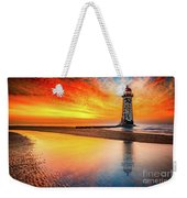 Welsh Lighthouse Sunset Weekender Tote Bag by Adrian Evans