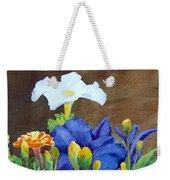 White And Purple Petunia And Marigolds Weekender Tote Bag