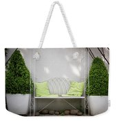 White Bench Made Of Iron With Two Green Bushes On The Side Weekender Tote Bag