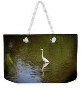 White Egret In Water Weekender Tote Bag