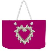 White Orchid Floral Heart Love And Romance Weekender Tote Bag by Rose Santuci-Sofranko