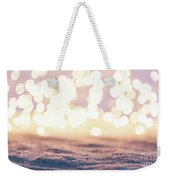 Winter Background With Snow And Fairy Lights. Weekender Tote Bag