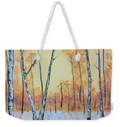 Winter Birches-cardinal Left Weekender Tote Bag