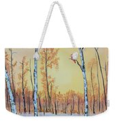 Winter Birches-cardinal Right Weekender Tote Bag