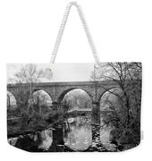 Wissahickon Creek - Reading Viaduct In Black And White Weekender Tote Bag