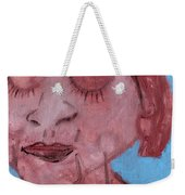 Woman And Blue Background Weekender Tote Bag