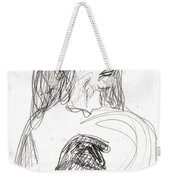 Woman Holding A Hat Weekender Tote Bag