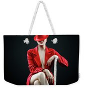 Woman In Red Weekender Tote Bag