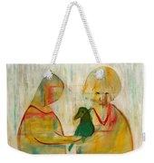 Women Holding A Bird Weekender Tote Bag