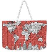 World Map Landmarks Skyline 3 Weekender Tote Bag