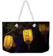 Yellow Chinese Lanterns On Wire Illuminated At Night  Weekender Tote Bag