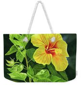 Yellow Hibiscus With Bright Green Leaves Weekender Tote Bag