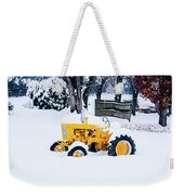 Yellow Tractor In The Snow Weekender Tote Bag
