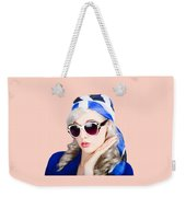 Young Beautiful Retro Girl In Glasses Weekender Tote Bag