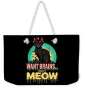 Zombie Cat Halloween Shirt Want Brains Right Meow Pun Weekender Tote Bag