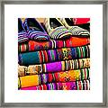 Colorful Fabric At Market In Peru Framed Print