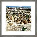 Dog Looking At Fairy Chimneys In Cappadocia-turkey Framed Print