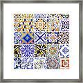 Hand Painted Portuguese Ceramic Tile Framed Print