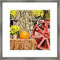 Pumpkins Next To An Old Farm Tractor Framed Print