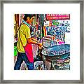 Roasting Chestnuts In China Town In Bangkok-thailand  Framed Print