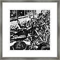 Row Of Harley Davidson Motorbikes Including Sportster Outside Motorcycle Dealership Orlando Florida  Framed Print