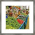 Selling Fresh Vegetables In Antalya Market-turkey Framed Print