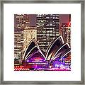 Sydney Skyline At Night With Opera House - Australia Framed Print
