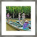 Women Waiting For Passengers On Mekong River Canal-vietnam Framed Print