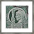 1943 Freedom Of Speech And Religion Stamp Framed Print