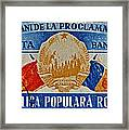 1957 Romanian Coat Of Arms And Flags Stamp Framed Print