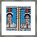1962 Nursing Stamp Collage Framed Print