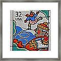 1996 Winter Skaters Stamp Framed Print
