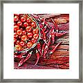 Basket Of Ripe Cherry Tomatoes And Dried Red Chillies On Rustic  Framed Print