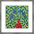 Blue Square Flowers Framed Print