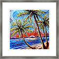 Three Palms On The Beach Framed Print