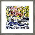 2014 19 Silver And Blue Stairs To Pink And Yellow Woods Srpsko Sarajevo Framed Print