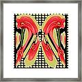 Dancing Tulip Red Exotic Flower Petal Based Wave Pattern  Created By Navinjoshi Reiki Healing Master Framed Print