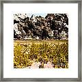Over-under Split Shot Of Clear Water In Tidal Pool Framed Print