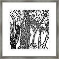 3 Trees Tree Cubed Tree Four Tree Cubed Black White Framed Print