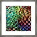 Abstract Checkered Pattern Fractal Flame Framed Print